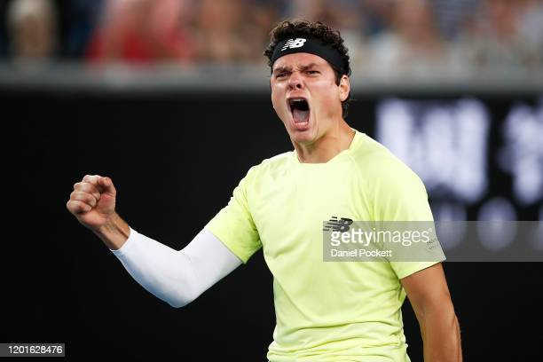 Milos Raonic of Canada celebrates after winning his Men's Singles third round match against Stefanos Tsitsipas of Greece on day five of the 2020...