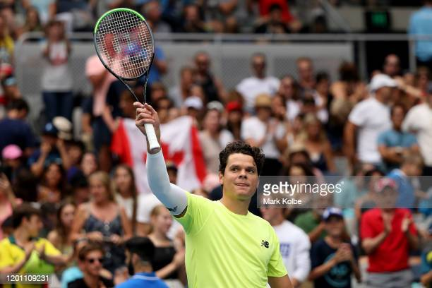 Milos Raonic of Canada celebrates after winning match point during his Men's Singles second round match against Cristian Garin of Chile on day three...