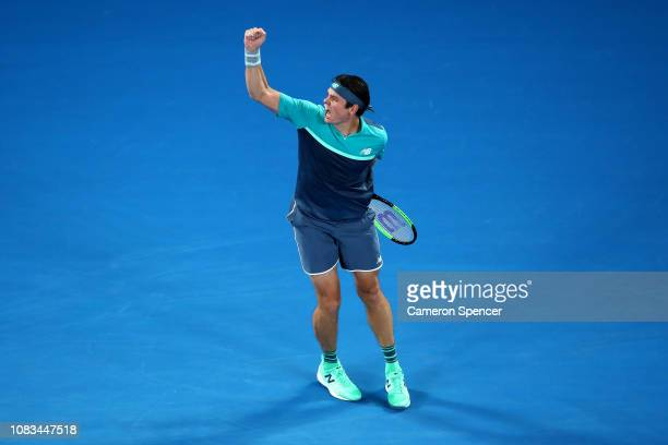 Milos Raonic of Canada celebrates after winning match point in his second round match against Stan Wawrinka of Switzerland during day four of the...