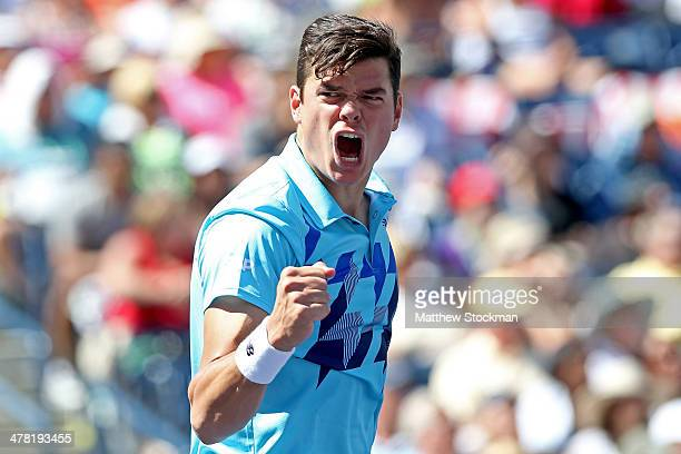 Milos Raonic of Canada celebrates match point against Andy Murray of Great Britain during the BNP Parabas Open at the Indian Wells Tennis Garden on...