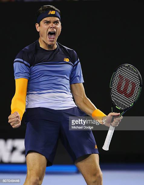 Milos Raonic of Canada celebrates match point in his quarter final match against Gael Monfils of France during day 10 of the 2016 Australian Open at...