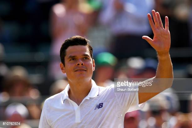 Milos Raonic of Canada celebrates victory after his Gentlemen's Singles third round match against Albert RamosVinolas of Spain on day six of the...