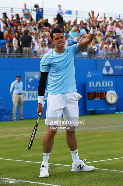 Milos Raonic of Canada celebrates victory after his men's singles second round match against Richard Gasquet of France during day three of the Aegon...