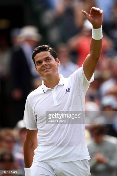 Milos Raonic of Canada celebrates victory after the Gentlemen's Singles first round match against JanLennard Struff of Germany on day two of the...