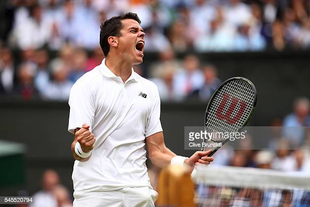 Milos Raonic of Canada celebrates victory during the Men's Singles Semi Final match against Roger Federer of Switzerland on day eleven of the...