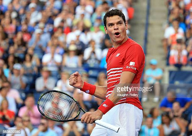 Milos Raonic of Canada celebrates victory over YenHsun Lu of Chinese Taipei on Day 3 of the Rogers Cup at the Aviva Centre on July 27 2016 in Toronto...