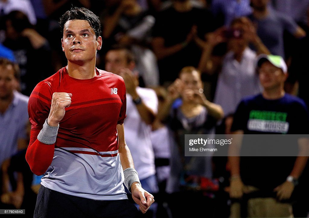 Milos Raonic of Canada celebrates winning a match against Jack Sock during Day 8 of the Miami Open presented by Itau at Crandon Park Tennis Center on March 28, 2016 in Key Biscayne, Florida.