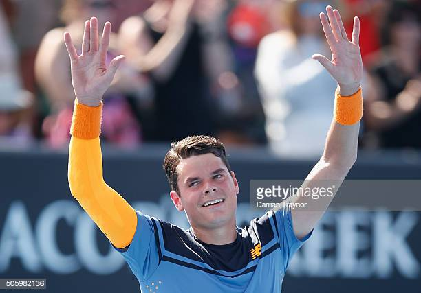 Milos Raonic of Canada celebrates winning his second round match against Tommy Robredo of Spain during day four of the 2016 Australian Open at...