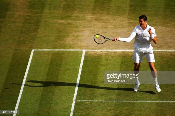 Milos Raonic of Canada during his Gentlemen's Singles semifinal match against Roger Federer of Switzerland on day eleven of the Wimbledon Lawn Tennis...
