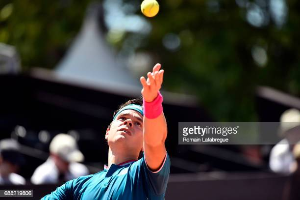 Milos Raonic of Canada during the Open Parc of Lyon 2017 quarter final day 6 on May 25 2017 in Lyon France