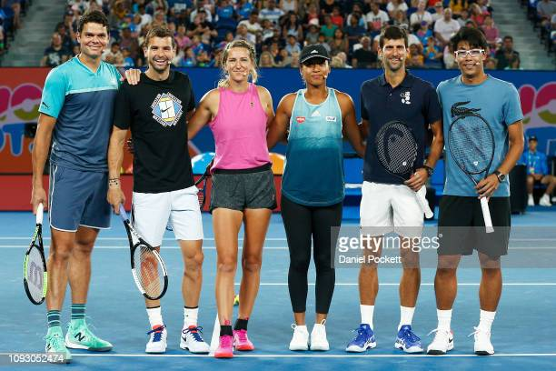 Milos Raonic of Canada Grigor Dimitrov of Bulgaria Victoria Azarenka of Belarus Naomi Osaka of Japan Novak Djokovic of Serbia and Hyeon Chung of...