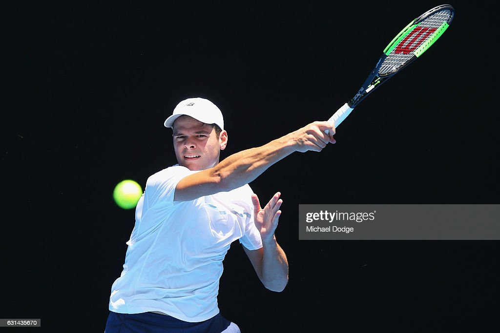 Milos Raonic of Canada hits a backhand during a practice session ahead of the 2017 Australian Open at Melbourne Park on January 11, 2017 in Melbourne, Australia.