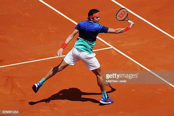 Milos Raonic of Canada in actino against Marco Cecchinato of Italy during day two of The Internazionali BNL d'Italia 2016 on May 09 2016 in Rome Italy