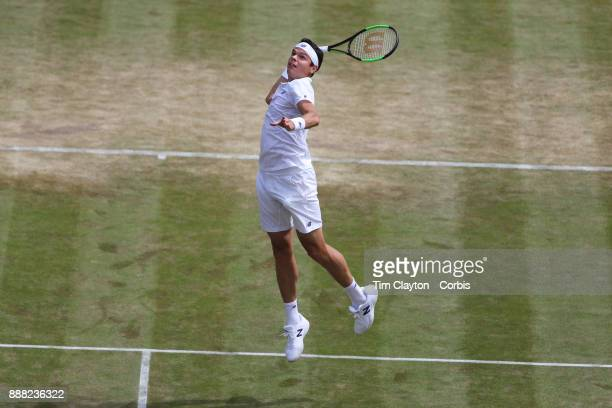 Milos Raonic of Canada in action against Albert RamosVinolas of Spain on number one court during the Wimbledon Lawn Tennis Championships at the All...