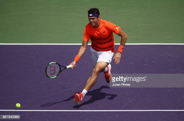 Milos Raonic of Canada in action against Viktor Troicki of Serbia at Crandon Park Tennis Center on March 24 2017 in Key Biscayne Florida