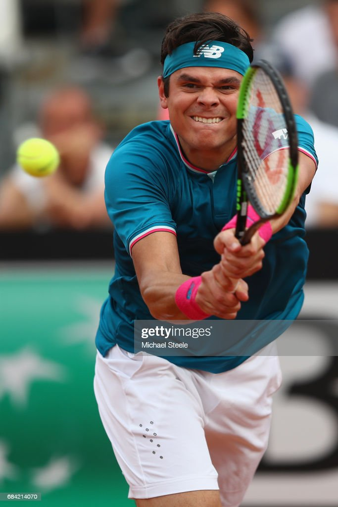 Milos Raonic of Canada in action during his second round match against Tommy Haas of Germany on Day Four of The Internazionali BNL d'Italia 2017 at the Foro Italico on May 17, 2017 in Rome, Italy.