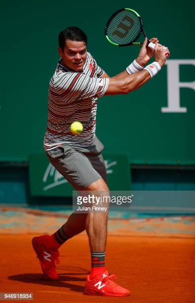 Milos Raonic of Canada in action in his singles match against Lucas Catarina of Monaco during day two of ATP Masters Series Monte Carlo Rolex Masters...