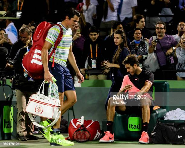 Milos Raonic of Canada leaves the court after losing to Juan Martin Del Potro of Argentina 75 67 67 during the quarterfinals match on Day 10 of the...