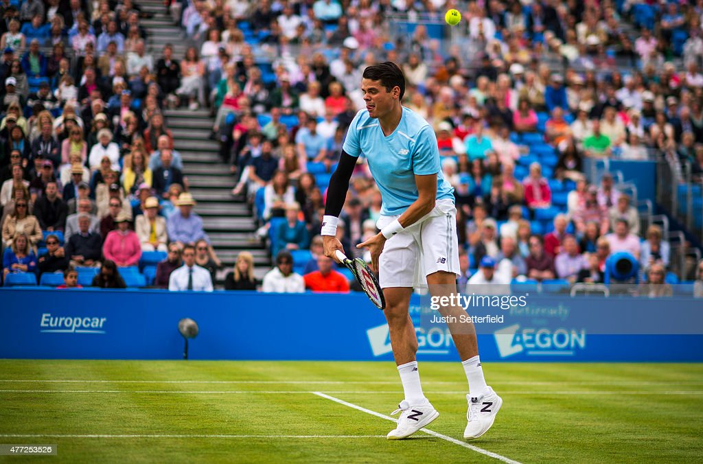 Milos Raonic of Canada misses a volley in his men's singles first round match against James Ward of Great Britain during day one of the Aegon Championships at Queen's Club on June 15, 2015 in London, England.