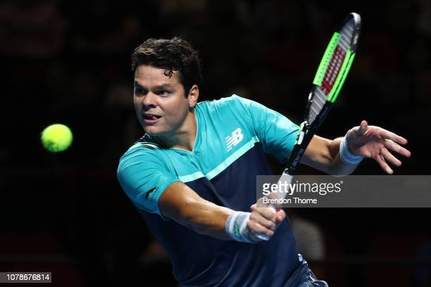 Milos Raonic of Canada plays a backhand during Fast4Showdown at Qudos Bank Arena on January 7 2019 in Sydney Australia