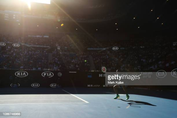 Milos Raonic of Canada plays a backhand in his quarter final match against Lucas Pouille of France during day 10 of the 2019 Australian Open at...