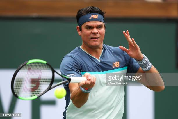 Milos Raonic of Canada plays a forehand against Marcos Giron of the United States during their men's singles third round match on day eight of the...