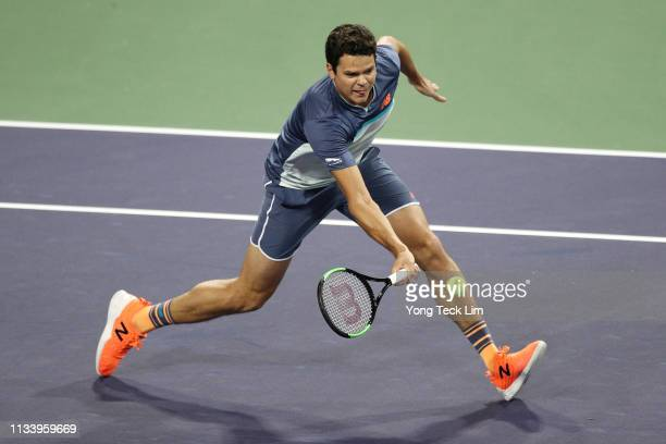 Milos Raonic of Canada plays a forehand against Marin Cilic of Croatia in the semi final of the Eisenhower Cup a Tie Break Tens event on Day 2 of the...