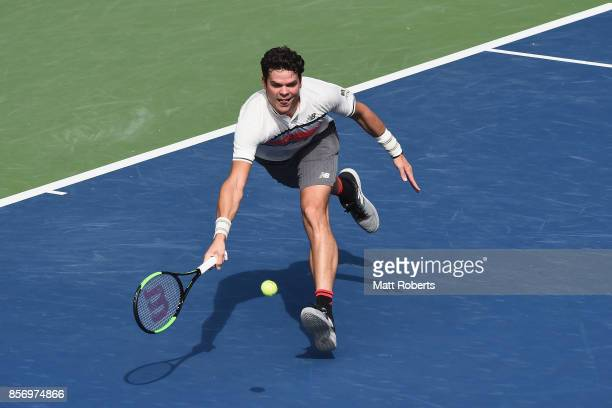 Milos Raonic of Canada plays a forehand against Viktor Troicki of Serbia during day two of the Rakuten Open at Ariake Coliseum on October 3 2017 in...