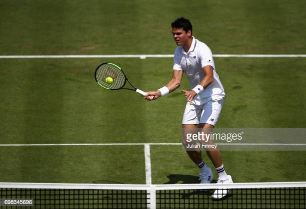 Milos Raonic of Canada plays a forehand during mens singles first round match against Thanasi Kokkinakis of Australia on day two of the 2017 Aegon...