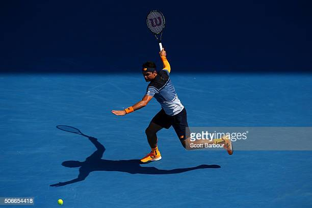 Milos Raonic of Canada plays a forehand in his fourth round match against Stan Wawrinka of Switzerland during day eight of the 2016 Australian Open...