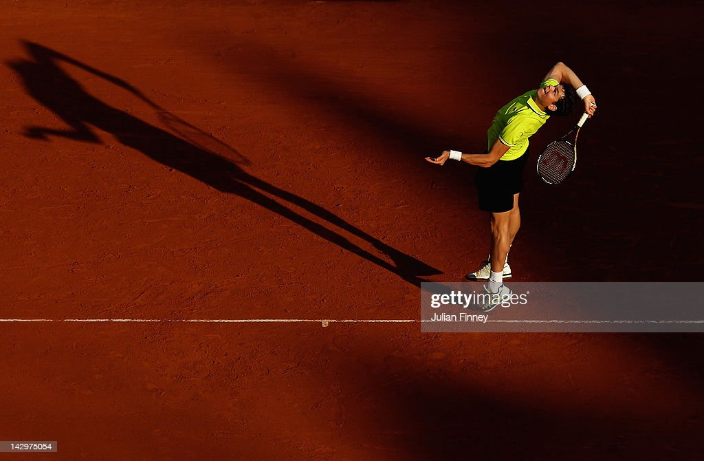 16: Milos Raonic of Canada plays a forehand in his match against Albert Montanes of Spain during day two of the ATP Monte Carlo Masters on April 16, 2012 in Monte-Carlo, Monaco.