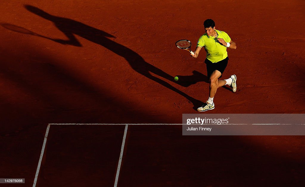Milos Raonic of Canada plays a forehand in his match against Albert Montanes of Spain during day two of the ATP Monte Carlo Masters on April 16, 2012 in Monte-Carlo, Monaco.