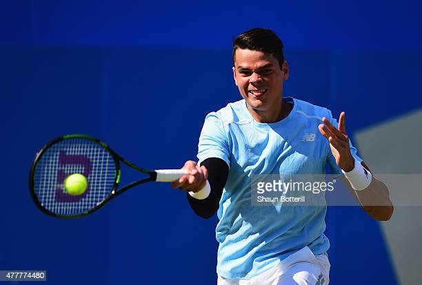 Milos Raonic of Canada plays a forehand in his men's singles quarterfinal match against Gilles Simon of France during day five of the Aegon...
