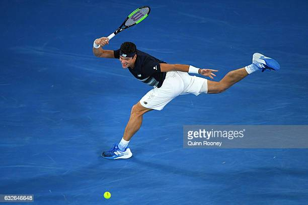 Milos Raonic of Canada plays a forehand in his quarterfinal match against Rafael Nadal of Spain on day 10 of the 2017 Australian Open at Melbourne...
