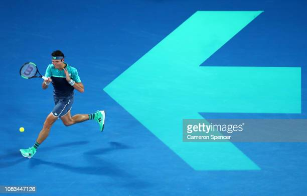 Milos Raonic of Canada plays a forehand in his second round match against Stan Wawrinka of Switzerland during day four of the 2019 Australian Open at...