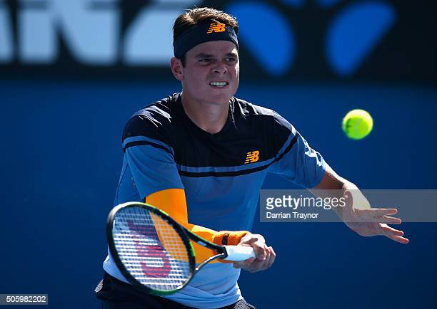 Milos Raonic of Canada plays a forehand in his second round match against Tommy Robredo of Spain during day four of the 2016 Australian Open at...
