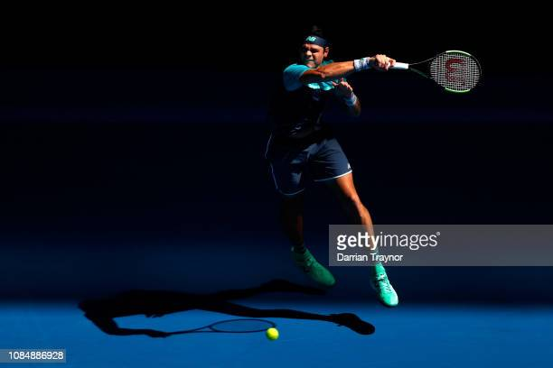 Milos Raonic of Canada plays a forehand in his third round match against PierreHugues Herbert of France during day six of the 2019 Australian Open at...