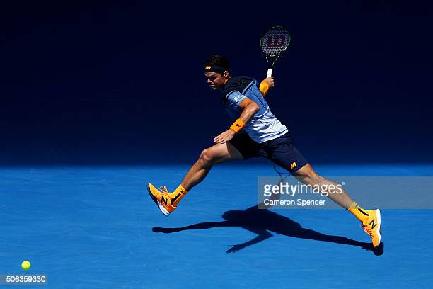 Milos Raonic of Canada plays a forehand in his third round match against Viktor Troicki of Serbia during day six of the 2016 Australian Open at...