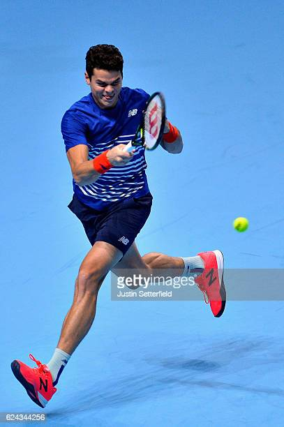 Milos Raonic of Canada plays a forehand shot during his men's singles semi final against Andy Murray of Great Britain on day seven of the ATP World...