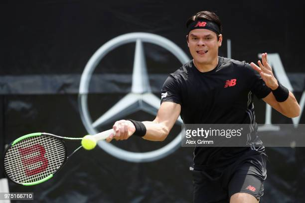 Milos Raonic of Canada plays a forehand to Tomas Berdych of Czech Republic during day 5 of the Mercedes Cup at Tennisclub Weissenhof on June 15 2018...