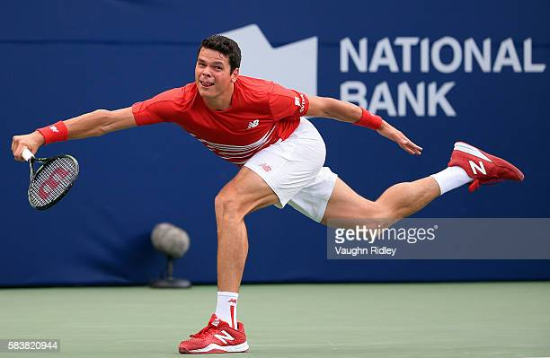 Milos Raonic of Canada plays a shot against YenHsun Lu of Chinese Taipei on Day 3 of the Rogers Cup at the Aviva Centre on July 27 2016 in Toronto...