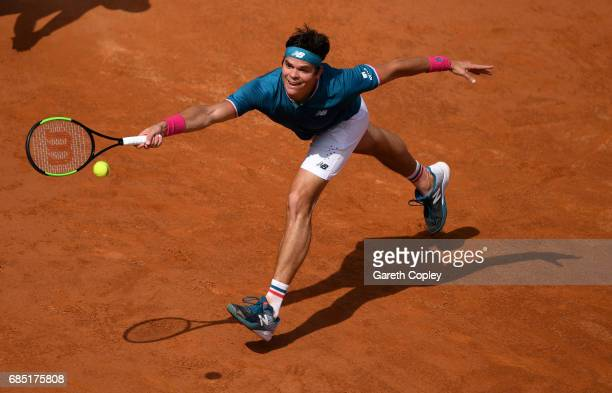 Milos Raonic of Canada plays a shot during his quarter final match against Alexander Zverev of Germany in The Internazionali BNL d'Italia 2017 at...
