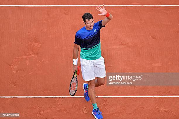 Milos Raonic of Canada plays reacts after winning his men's single second round match against Adrian Mannarino of France on day four of the 2016...