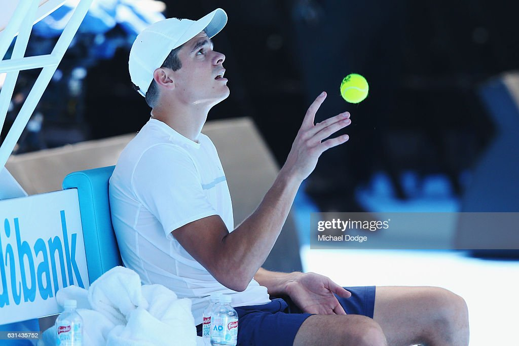 Milos Raonic of Canada plays with a ball during a practice session ahead of the 2017 Australian Open at Melbourne Park on January 11, 2017 in Melbourne, Australia.