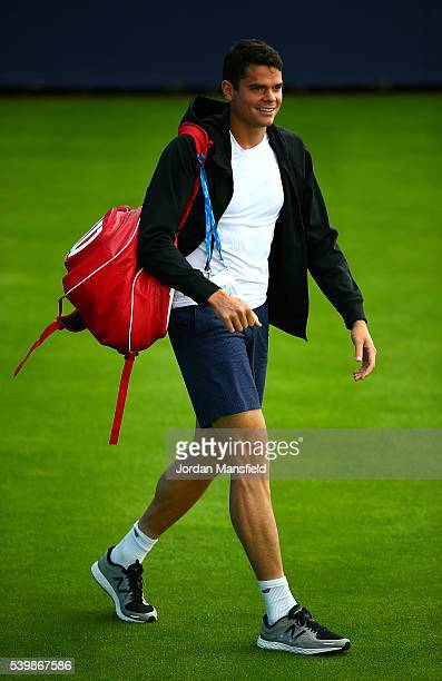 Milos Raonic of Canada practises during day one of the Aegon Championships at Queens Club on June 13 2016 in London England