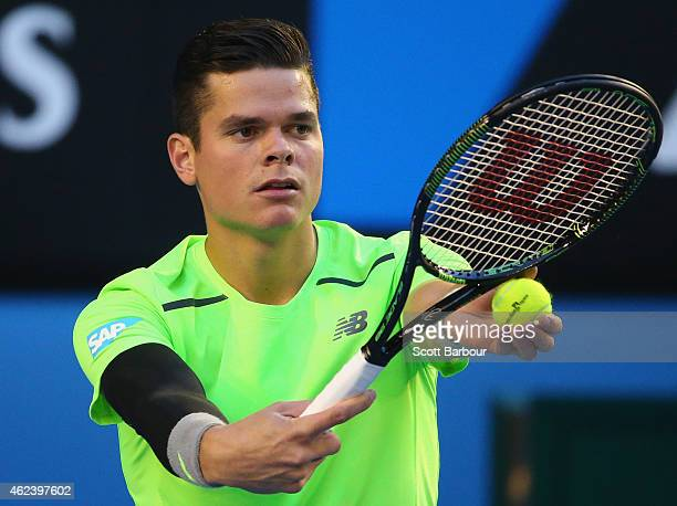 Milos Raonic of Canada prepares to serve in his quarter final match against Novak Djokovic of Serbia during day 10 of the 2015 Australian Open at...