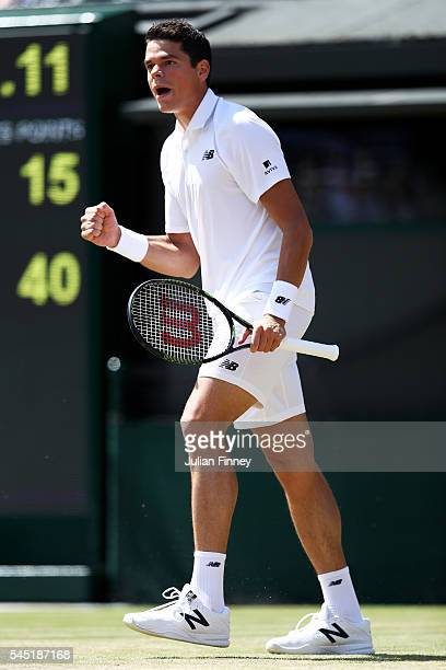 Milos Raonic of Canada reacts during the Men's Singles Quarter Finals match against Sam Querrey of The United States on day nine of the Wimbledon...