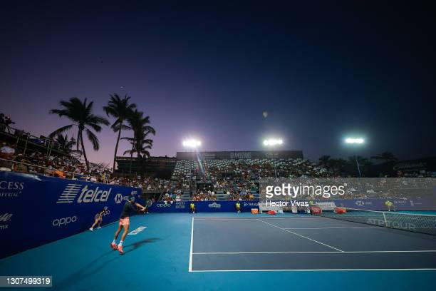 Milos Raonic of Canada returns a ball during the Men's singles match between Tommy Paul of United States and Milos Raonic of Canada as part of the...