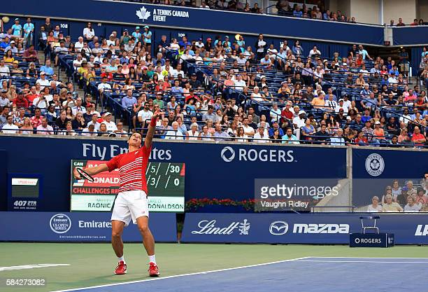 Milos Raonic of Canada serves against Jared Donaldson of the USA during Day 4 of the Rogers Cup at the Aviva Centre on July 28 2016 in Toronto...