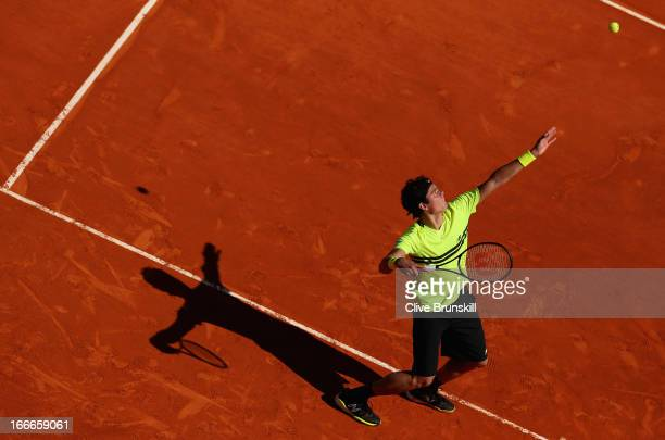 Milos Raonic of Canada serves against Julien Benneteau of France in their first round match during day two of the ATP Monte Carlo Mastersat...